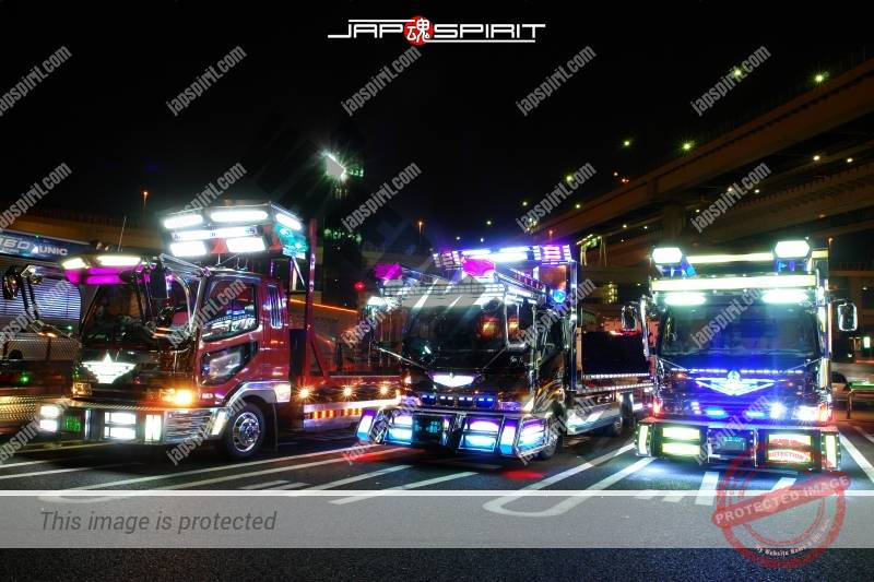 Dekotora art trucks light up at Daikoku Parking 3