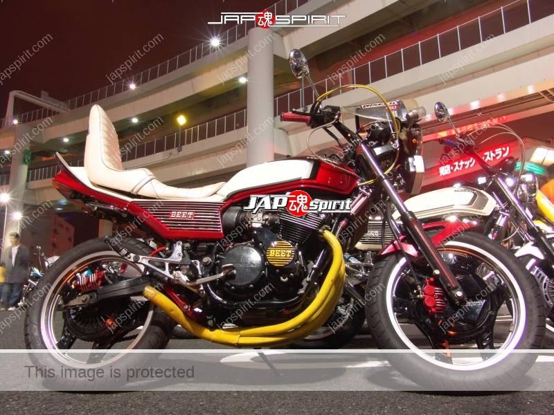 Photo of HONDA CBX400F Kyushakai white sandan sheet white & red color yellow muffler
