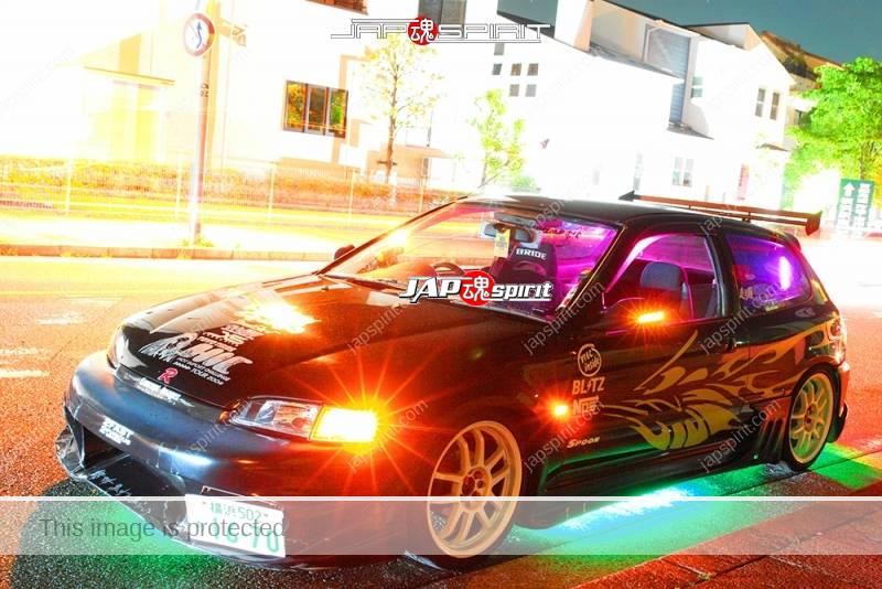 Photo of HONDA Civic 5th EG Spokon style black color lighting at Minatomirai