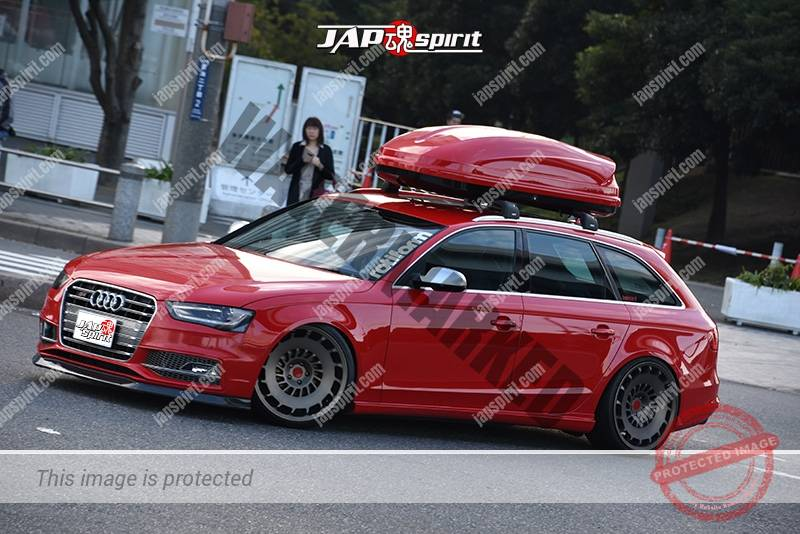 Photo of Stancenation 2016 Audi A4 B9 wagon hellaflush red body roof box attached at odaiba