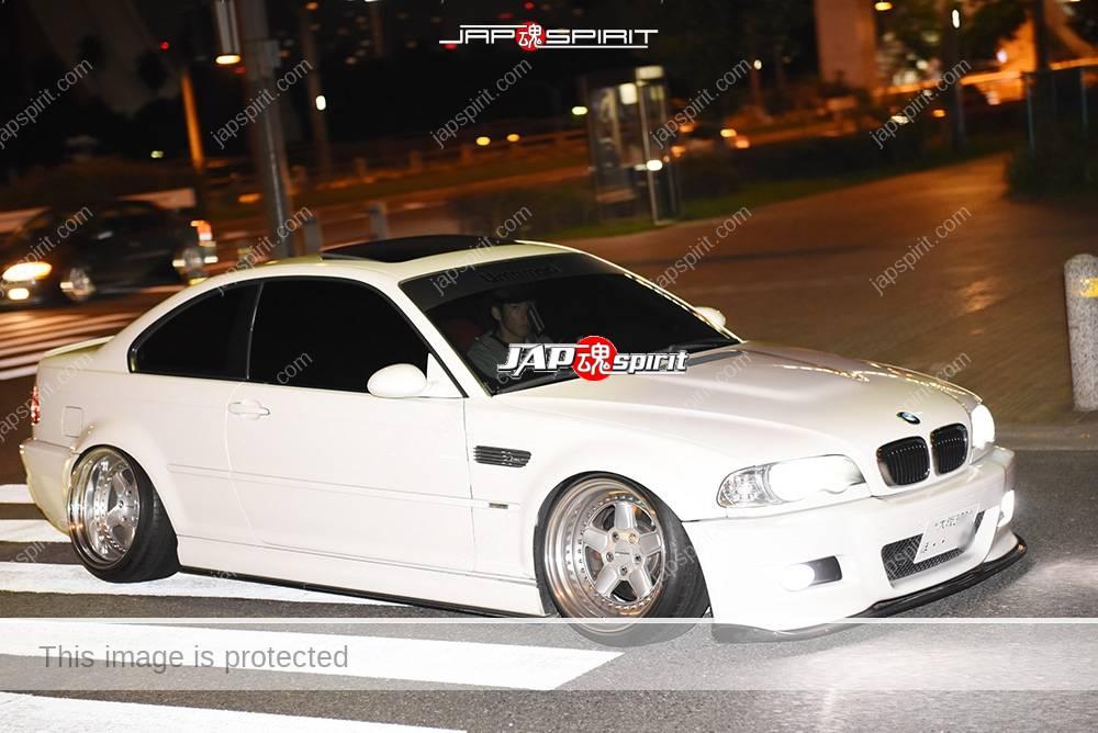 Photo of Stancenation 2016 BMW E46 coupe white hellaflush white color at odaiba