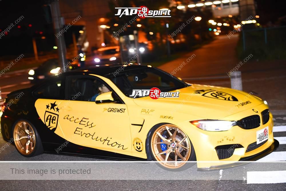 Photo of Stancenation 2016 BMW M4 F82 coupe black and yellow body at odaiba