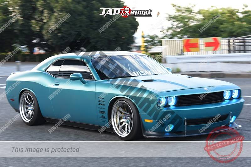 Photo of Stancenation 2016 Dodge challenger SRT8 hellaflush metallic light blue body at odaiba