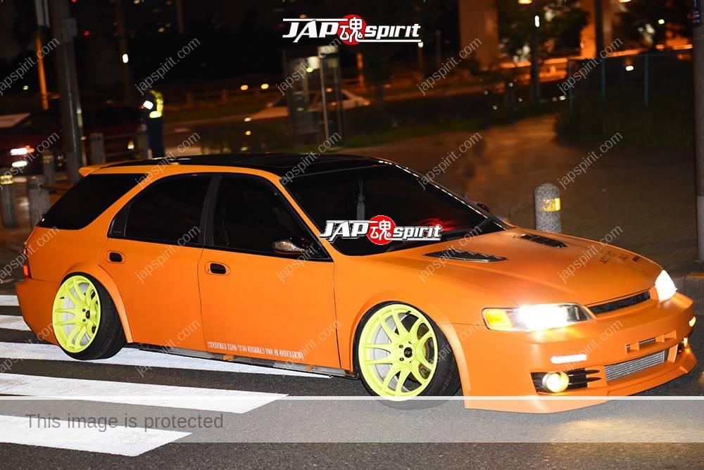 Stancenation 2016 Honda Accord wagon 3rd hellaflush orange body yellow wheel