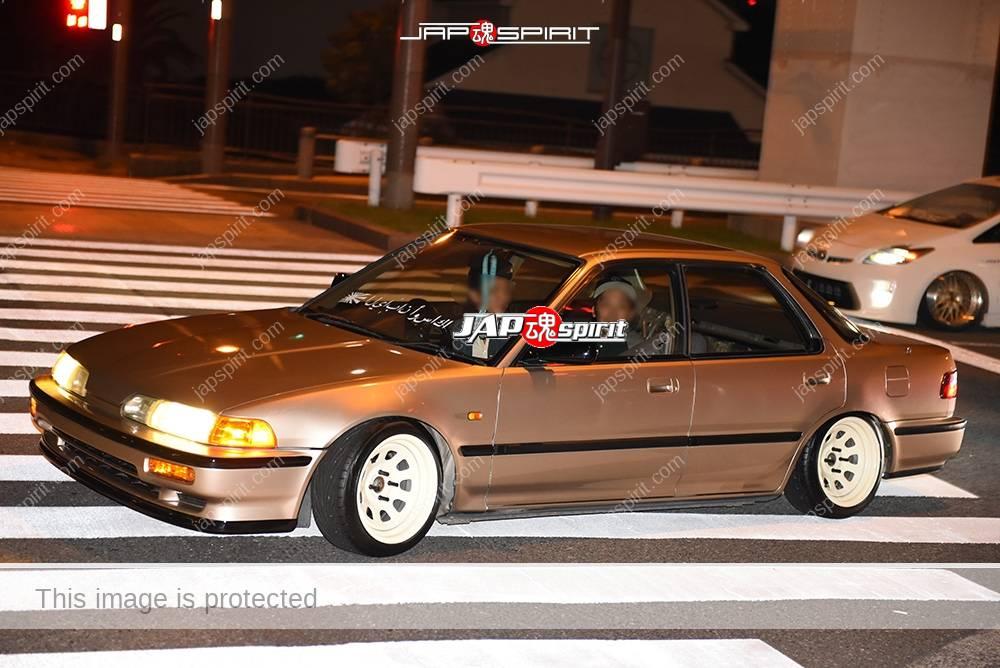 Photo of Stancenation 2016 Honda Integra DA/DB sedan USDM style brown color white wheel at odaiba