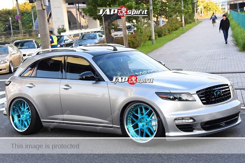 Stancenation 2016 Infiniti FX S50 hellaflush silver body light blue wheel team maverick 1