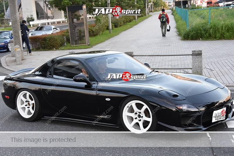 Stancenation 2016 Mazda RX7 FD hellaflush black body white wheel at odaiba 1