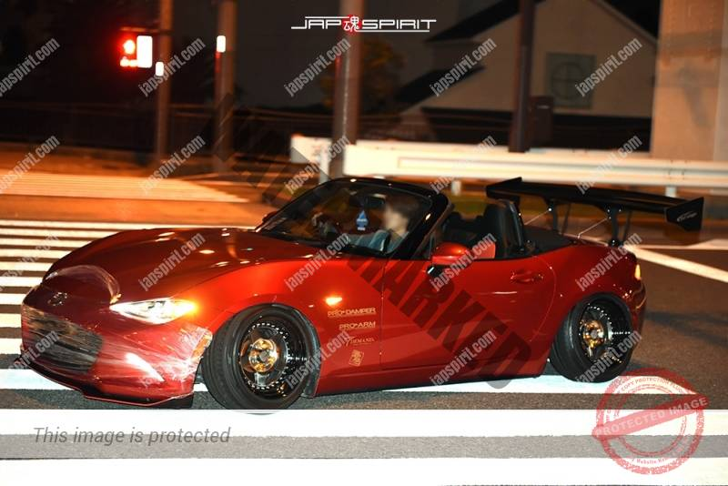 Stancenation 2016 Mazda Roadster MX-5 Miata ND big GT wing deep red 1