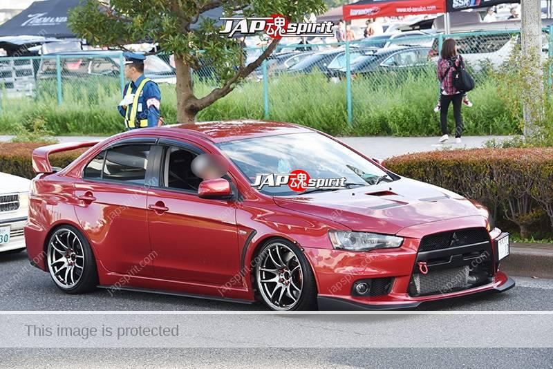 Photo of Stancenation 2016 Mitsubishi Lancer evolution X hellaflush red body at odaiba