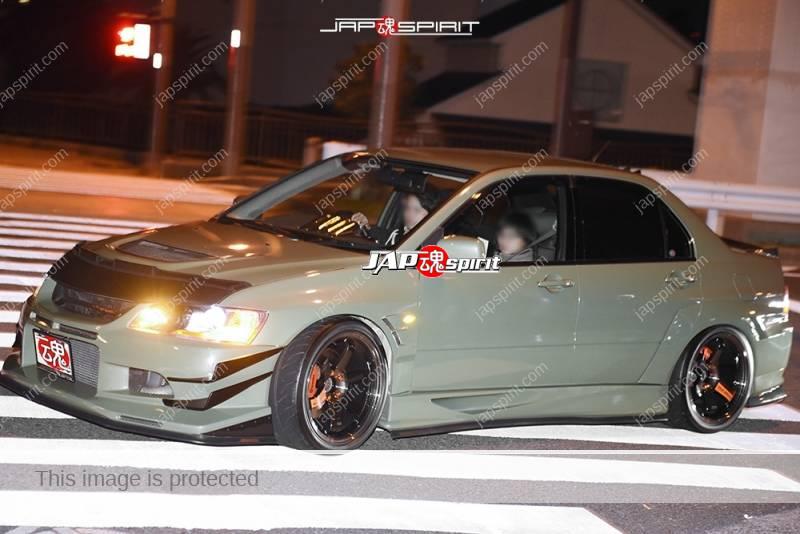 Stancenation 2016 Mitsubishi evo9 army green hellaflush nose mask at Odaiba 1