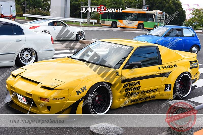 Photo of Stancenation 2016 Nissan 180 hellaflush roket bunny by Neo project yellow body