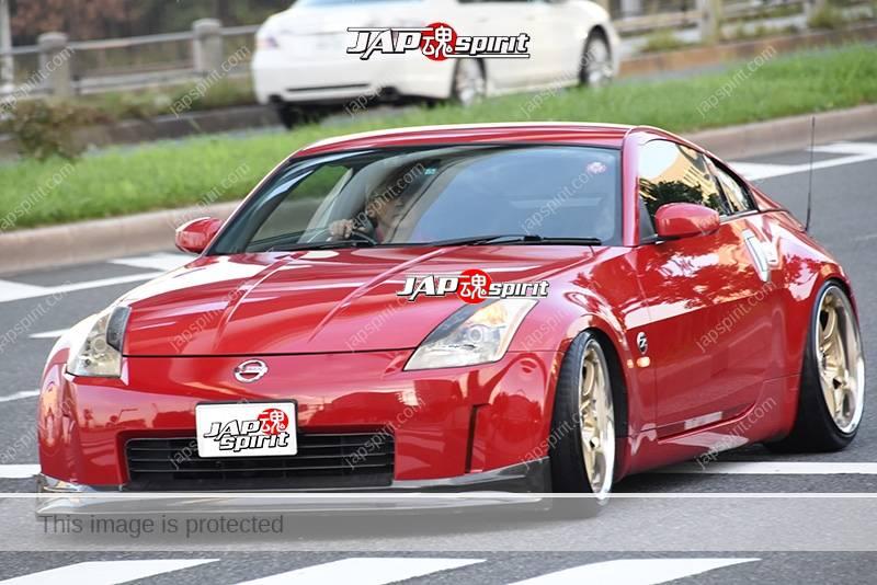 Stancenation 2016 Nissan Fairlady Z33 hellaflush red body at odaiba 2