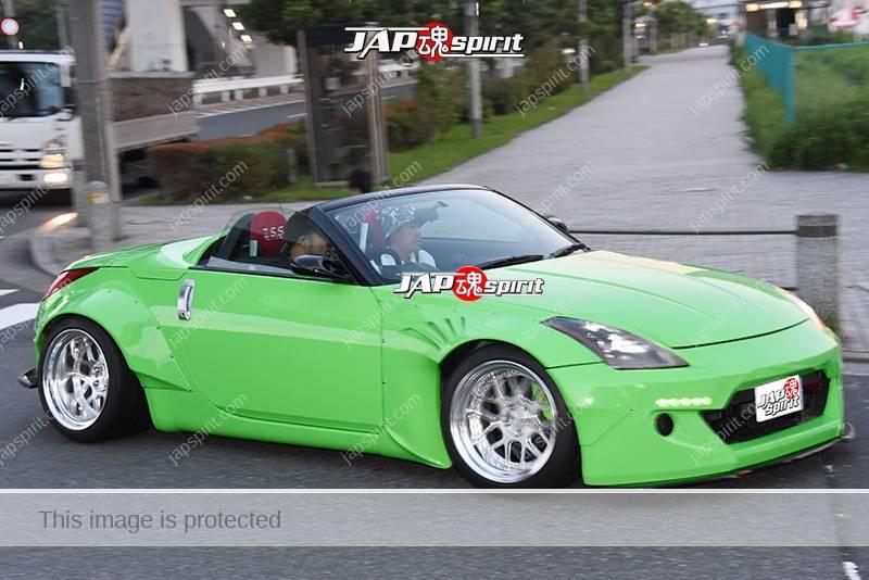 Photo of Stancenation 2016 Nissan Fairlady Z33 roadster hellaflush works fender light green body at odayba