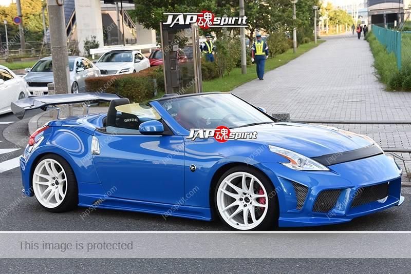 Stancenation 2016 Nissan Fairlady Z34 convertible hellaflush GT wing blue body white wheel 1