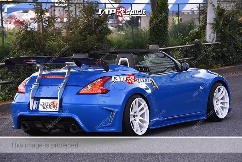 Stancenation 2016 Nissan Fairlady Z34 convertible hellaflush GT wing blue body white wheel 2