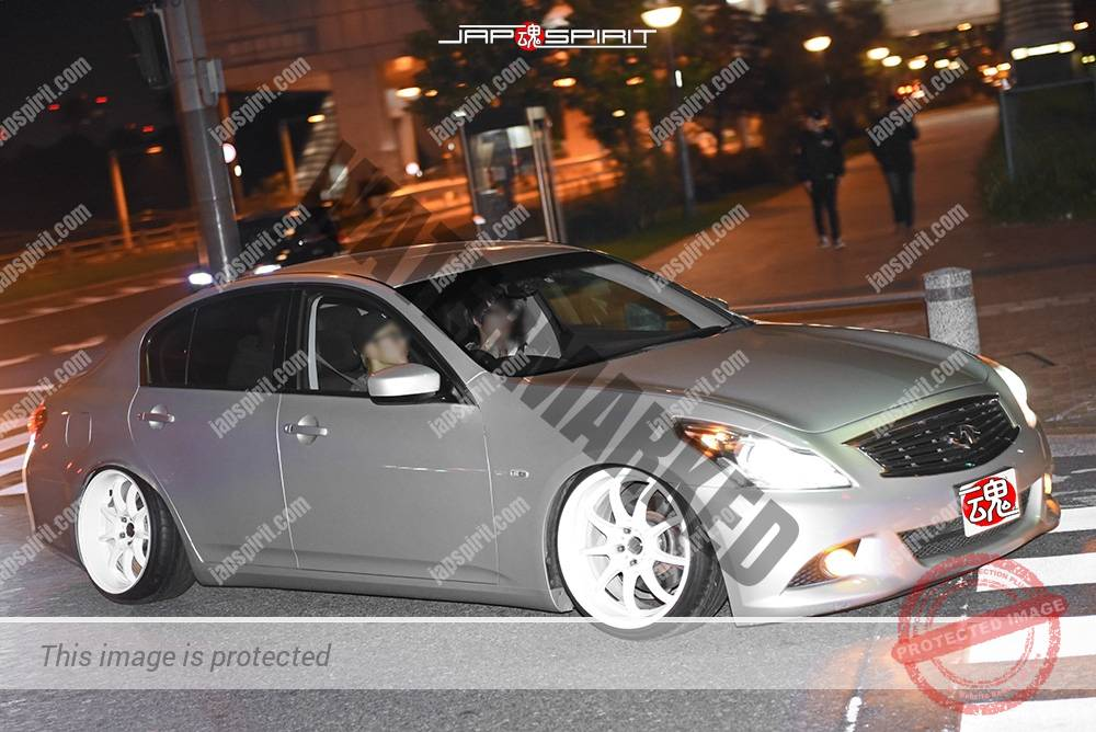 Photo of Stancenation 2016 Nissan Infiniti G35 Hellaflush Tsuraichi USDM silver body at odaiba