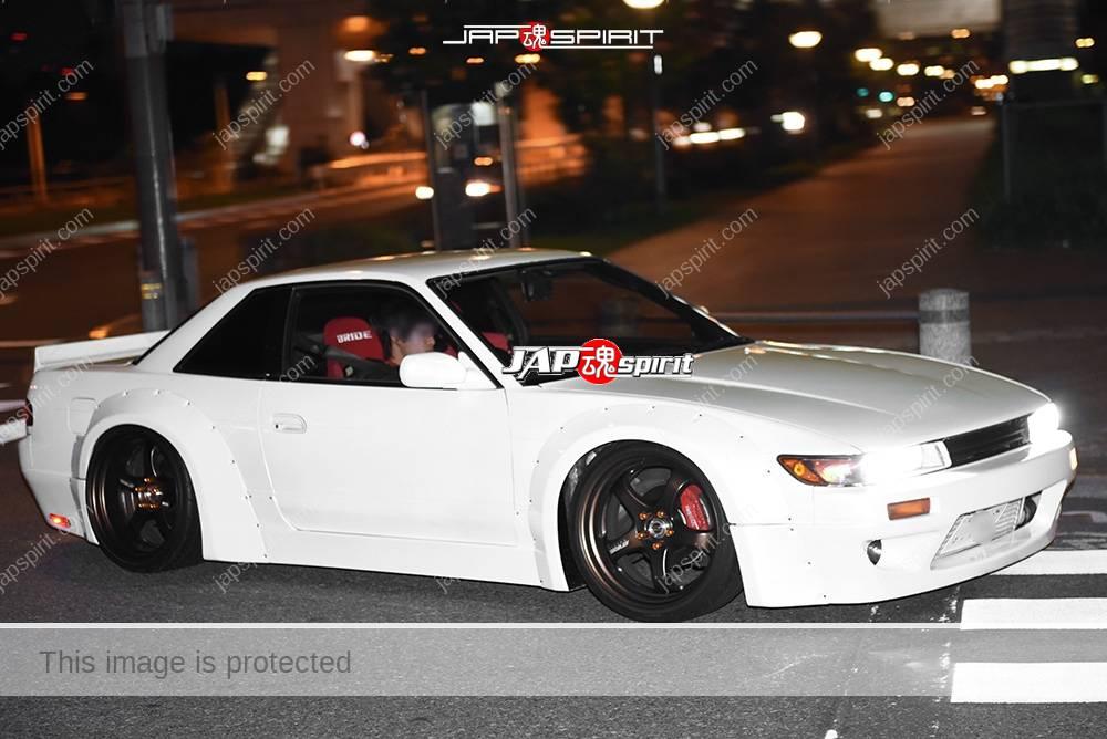 Photo of Stancenation 2016 Nissan Silvia S13 hellaflush works fender white body black wheel at odaiba