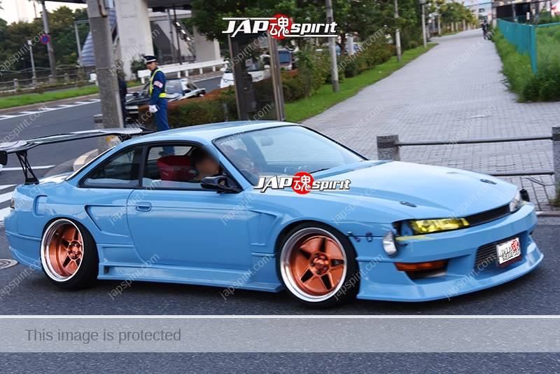Photo of Stancenation 2016 Nissan Silvia S14 hellaflush spocom style GT wing light blue body at odaiba