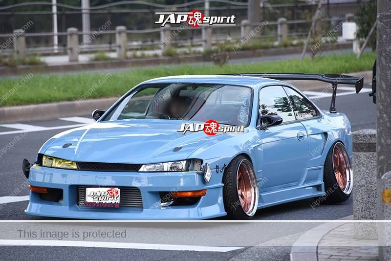 Stancenation 2016 Nissan Silvia S14 hellaflush spocom style GT wing light blue body at odaiba 2