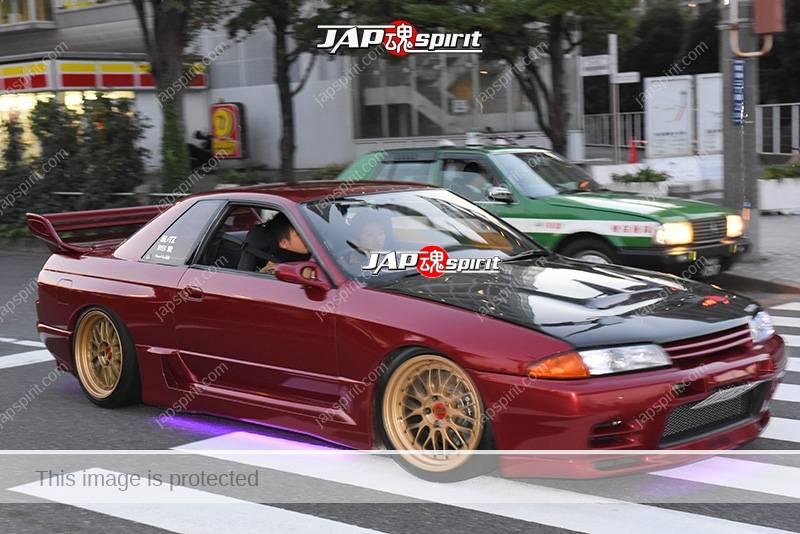 Stancenation 2016 Nissan Skyline R33 hellaflush blister fender wine red & gold wheel at odaiba 1