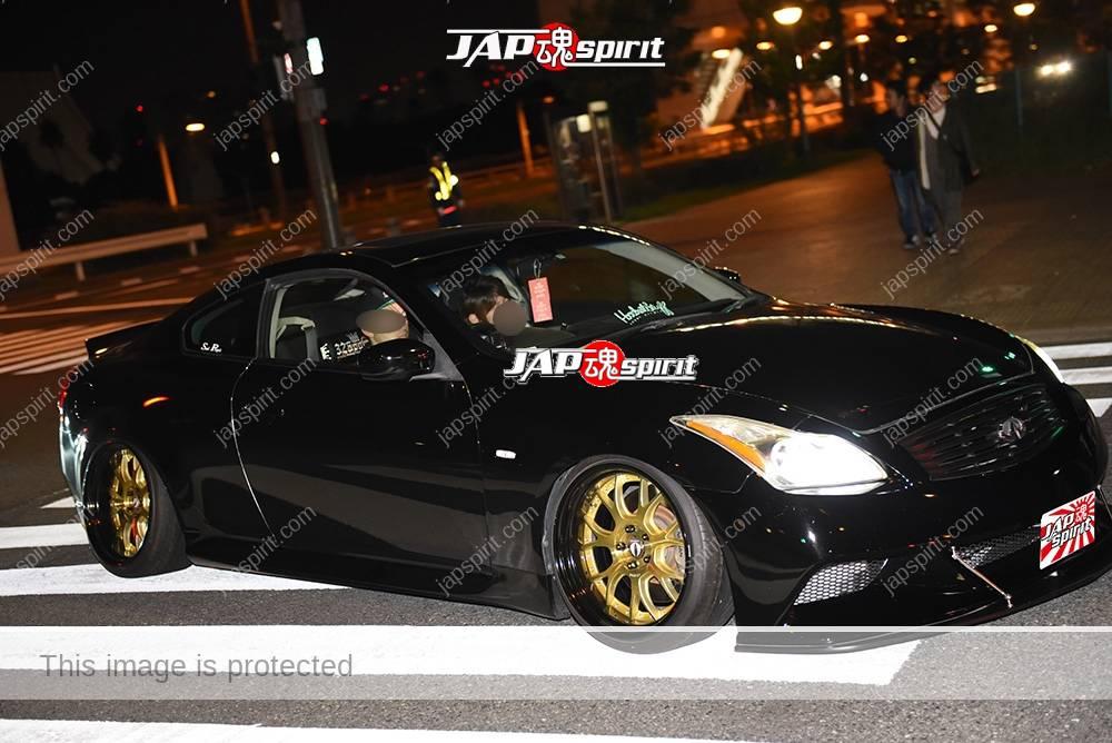 Stancenation 2016 Nissan Skyline coupe V36 hellaflush black body gold wheel at odaiba 2