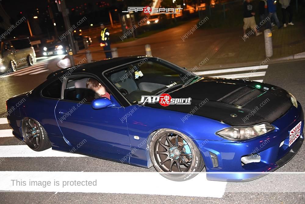 Photo of Stancenation 2016 Nissan silvia S15 hellaflush blue body black bonnet at odaiba