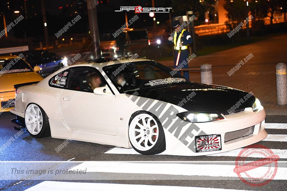Photo of Stancenation 2016 Nissan silvia S15 hellaflush white body white wheel black bonnet at odaiba