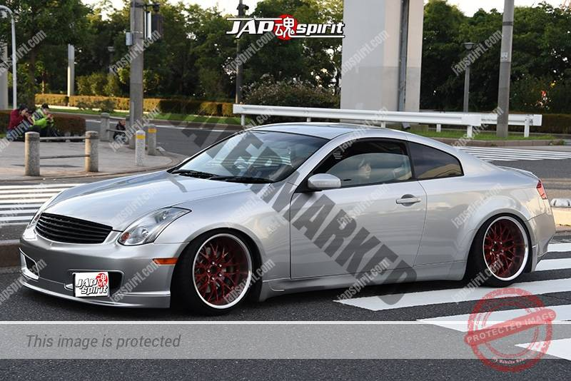 Photo of Stancenation 2016 Nissan skyline V35 hellaflush silver body red wheel at odaiba