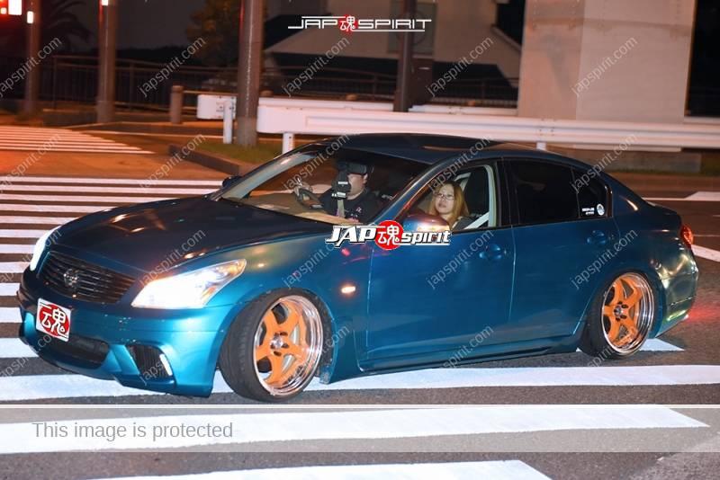 Photo of Stancenation 2016 Nissan skyline V36 blue body orange wheel hellaflush