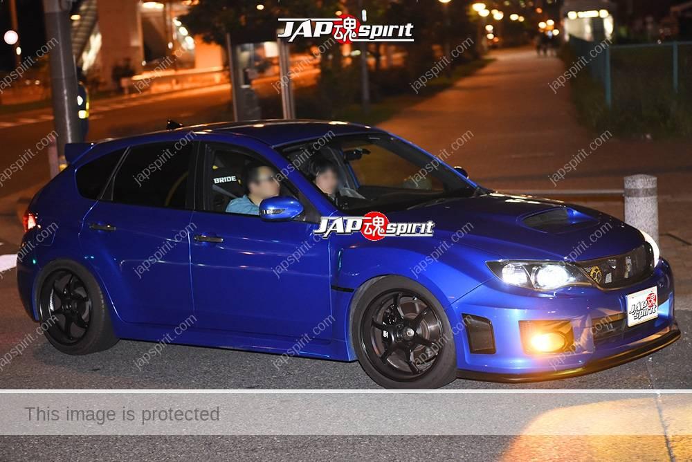 Stancenation 2016 Subaru Impreza wagon blue body at odaiba 1
