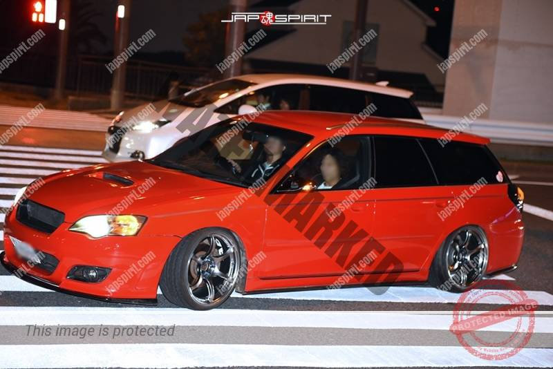 Photo of Stancenation 2016 Subaru Legacy 3rd wagon hellaflush red body at Odaiba