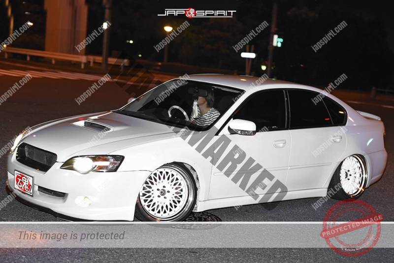 Photo of Stancenation 2016 Subaru Legacy BL/BP sedan white body white wheel hellaflush style at odaiba