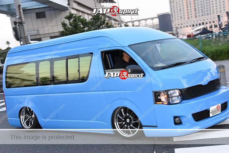 Stancenation 2016 Toyota Hiace H200 hellaflush camber light blue body at odaiba 1