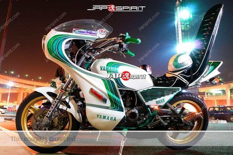YAMAHA RZ250 Kyushakai rocket cowl Sandan sheet white & emerald green color tsuppari tail 1