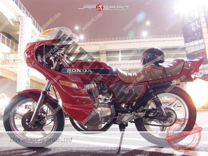 Photo of HONDA CB400N hawk ⅢKyushakai styale red color rocket cowl