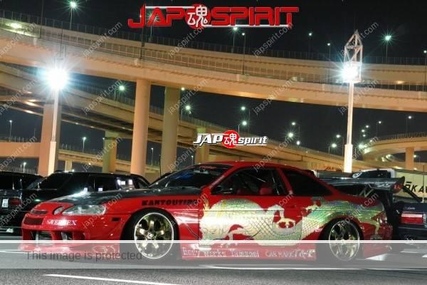 Cool ! Street style customised drift car, Toyota Soarer Z30. Golden dragon, Carbon bonnet, GT wing (1)
