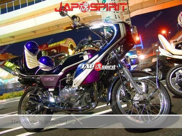 HONDA CB400N HAWK III, Zokusha style, Sandan sheet & Rocket cowl, dark blue & purple color