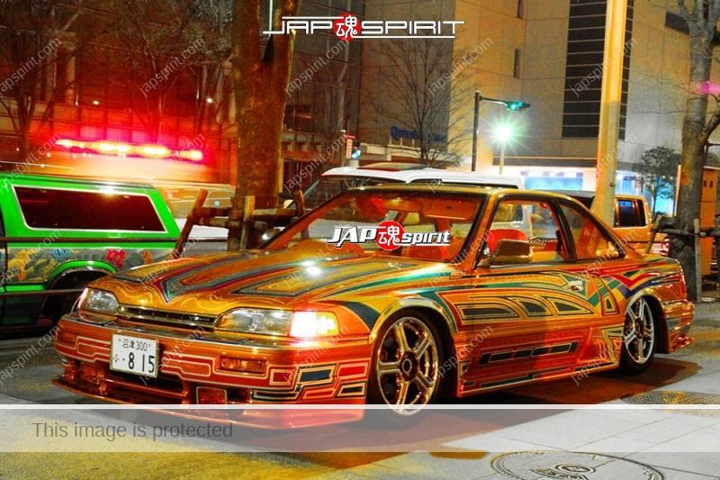 Photo of HONDA Legend 1st lowrider style astonishing tribal pattern airbrush paint at Minatomirai street