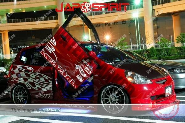 Photo of HONDA FIT, Dress up style, Red color, Scissor door, blue neon room right