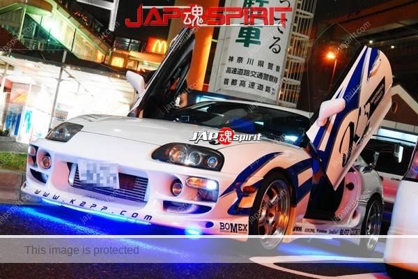 TOYOTA Supra Mark 4th A80, Spokon style, Beautiful blue lighting with blue line & white body (1)