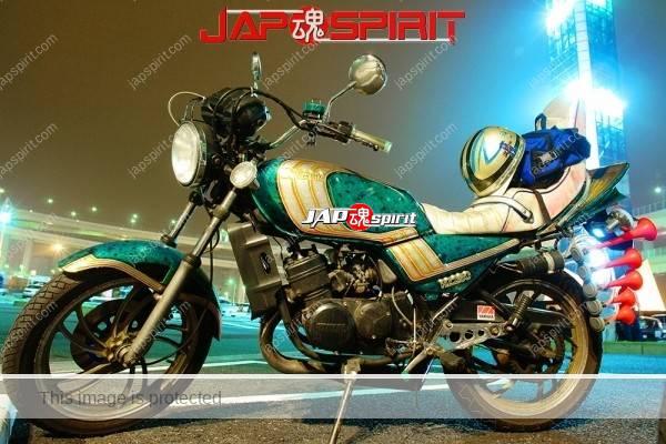 YAMAHA RZ250, Zokusha style, Sandan sheet, air horn, Emerald green color with white line (2)