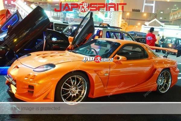 Photo of MAZDA RX7 FD, Spokon style, Aero blister fender, orange color