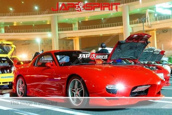 Photo of MAZDA RX7 FD, Spokon style, red color, beautiful body line.
