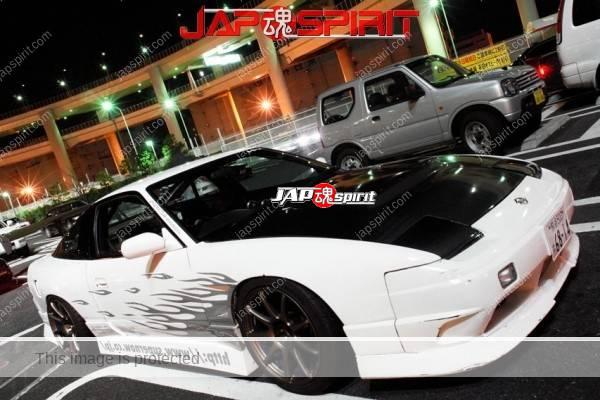 Photo of NISSAN 180, Drift style. White color & black bonnet & GT wing.
