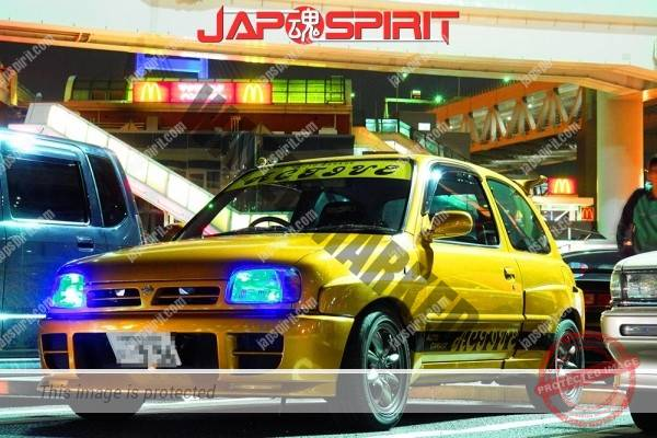 Photo of NISSAN March K11, Hashiriya style, blister fender, dark yellow color