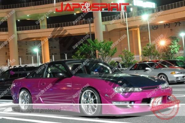 Nissan Silvia 14, Purple color and GT wing, Steet drift style (1)