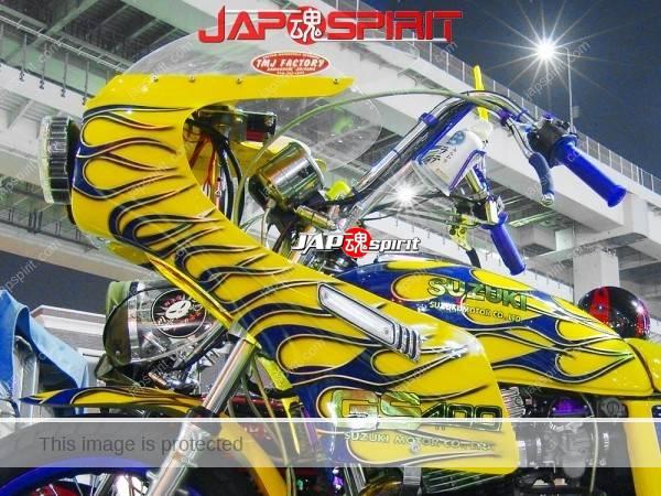 SUZUKI GS 400, Yellow with blue fire pattern, Rocket cowl & sandan sheet, zokusha (1)