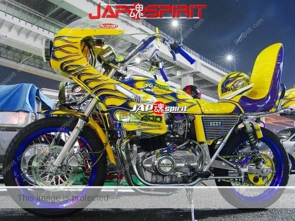 Photo of SUZUKI GS 400, Yellow with blue fire pattern, Rocket cowl & sandan sheet, zokusha