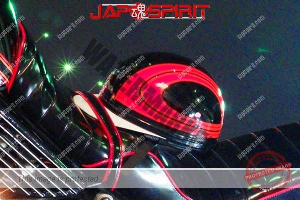 SUZUKI GS400, Zokusha style, Black with red line, sandan sheet with Korukuhan (helmet) (2)