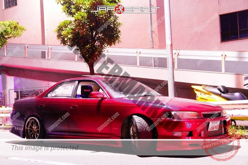 Photo of TOYOTA Mark II, x90, Street drift style red color at Daikoku futo by Mr.Kamei, team Kiwami